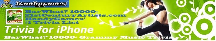 BarWhat? 10000+ Grammy Trivia Featured on HandyGames.com's #1 Trivia List